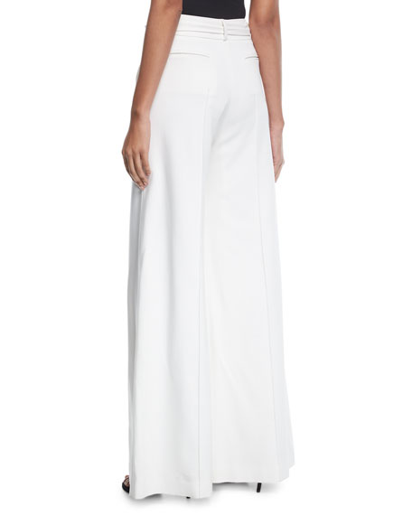 High-Waist Wide-Leg Pants with Ribbon Belt