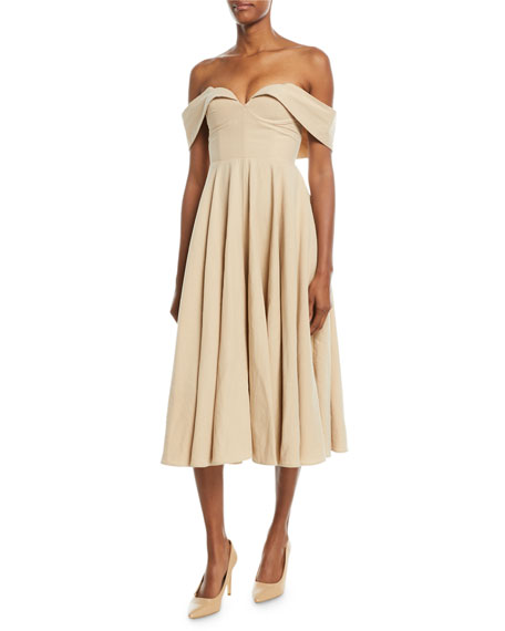 Image 1 of 1: Off-the-Shoulder Bustier Cotton-Linen Tea-Length Cocktail Dress