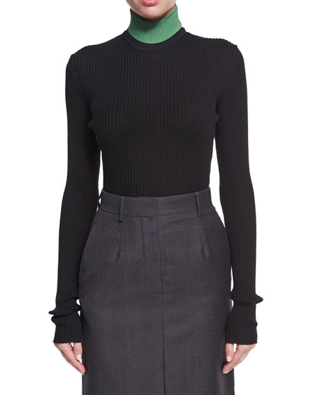 Image 1 of 1: Colorblock Ribbed Turtleneck Sweater