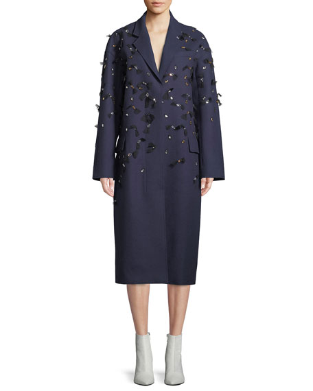 EMBELLISHED WOOL FELT OVERCOAT