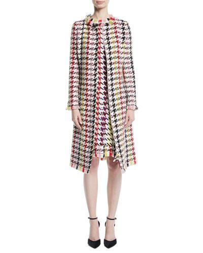 Multicolor Tweed Zip-Front A-Line Coat