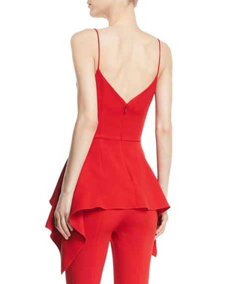 Deep-V Sleeveless Peplum Camisole