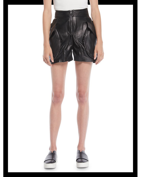 Giovanna High-Waist Zip-Front Calf Leather Shorts