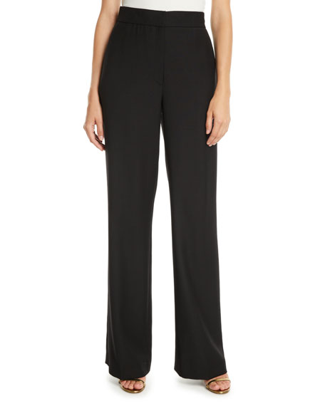 OSMAN LONDON High-Waist Straight-Leg Heavy Wool Pants in Black