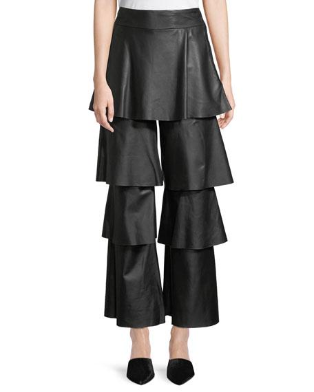 Felix Tiered Ruffle Lamb Leather Pants