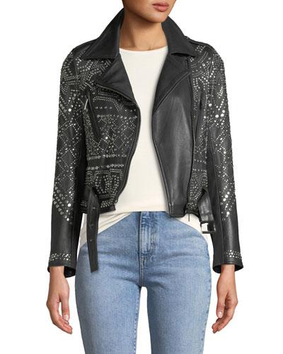 Studded Lambskin Leather Classic Moto Jacket