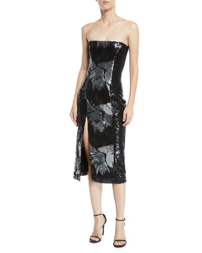 Strapless Starburst-Sequin Fitted Cocktail Midi Dress