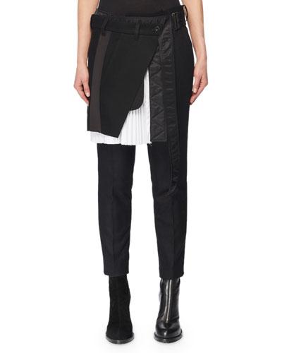 Pleated Wrap Skirt Front Skinny-Leg Wool-Blend Pants