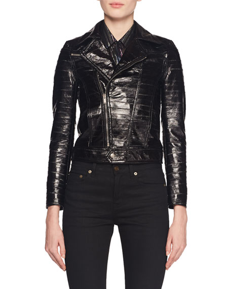 5cbf7704f97 Saint Laurent Zip-Front Eel-Skin Biker Jacket and Matching Items