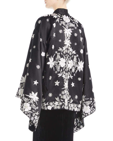 Floral-Embroidered Silk Coat
