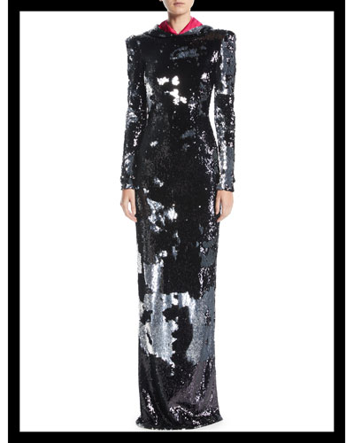 Long-Sleeve Open-Back Column Sequin Evening Gown w/ Removable Hood