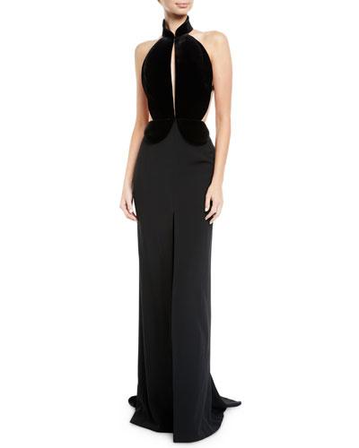 Halter Velvet-Bodice Keyhole-Front Crepe Evening Gown