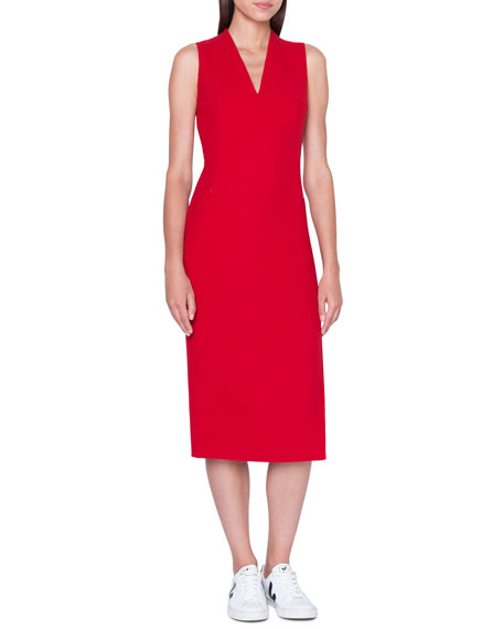 Image 1 of 1: Sleeveless V-Neck Wool Double-Face Sheath Dress