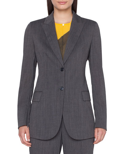Long 2-Button Cool Wool Crepe Jacket