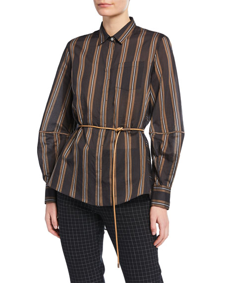 Brunello Cucinelli Monili-Striped Striped Organza Button-Front Blouse
