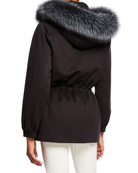 Cashmere Fox-Fur Hooded Parka Coat