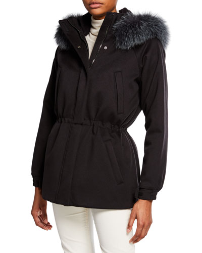 Cashmere Fox-Fur Hooded Parka Coat