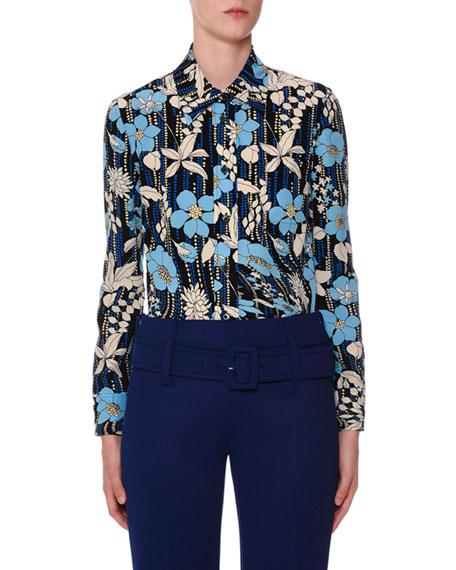 Floral Crepe De Chine Button-Front Shirt