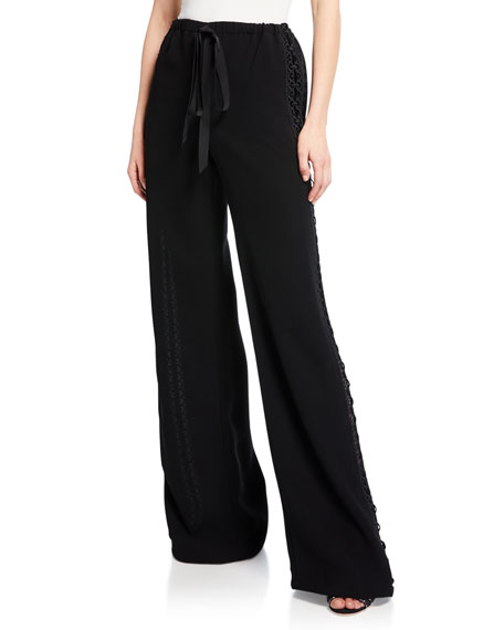 Image 1 of 1: Lace Side-Striped Track Pants