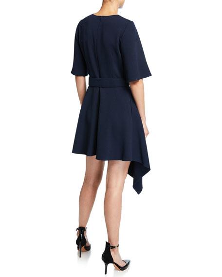 Asymmetric Short-Sleeve Belted Day Dress