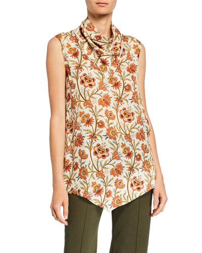 Sleeveless Indian Floral Print Handkerchief Blouse