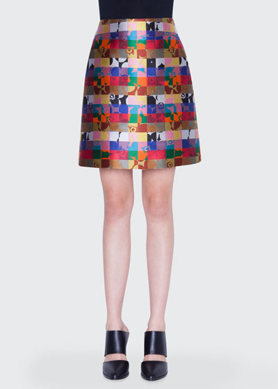 Floral Square Jacquard A-Line Skirt