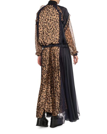 Leopard-Print Zip-Front Plisse Maxi Dress
