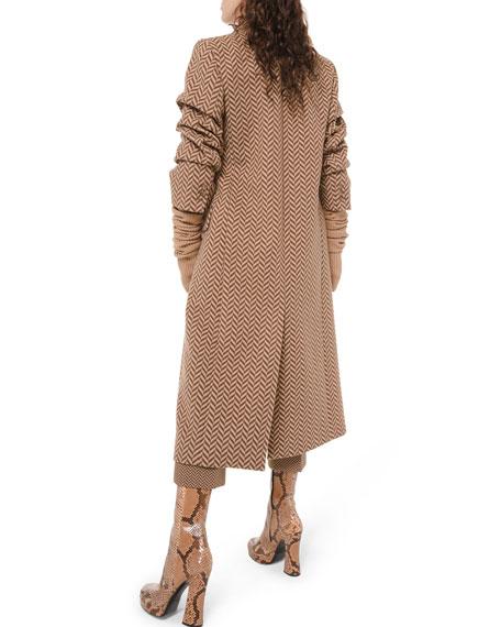 Large Herringbone Melton Crushed-Sleeve Coat