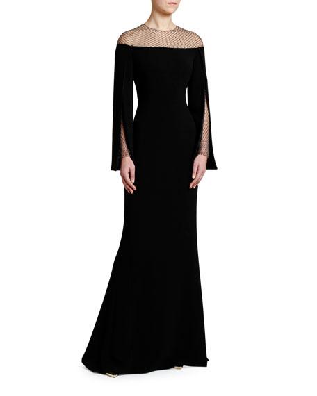Crystal Mesh Cape-Sleeve Cady Gown