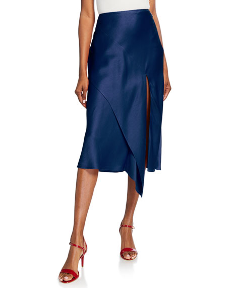 Draped Satin Midi Skirt