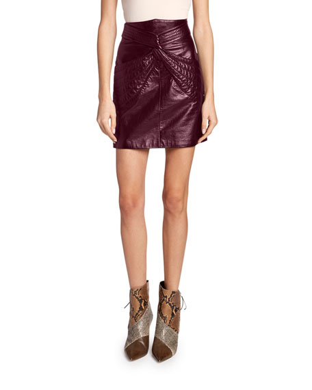 High-Waist Twisted Leather Skirt