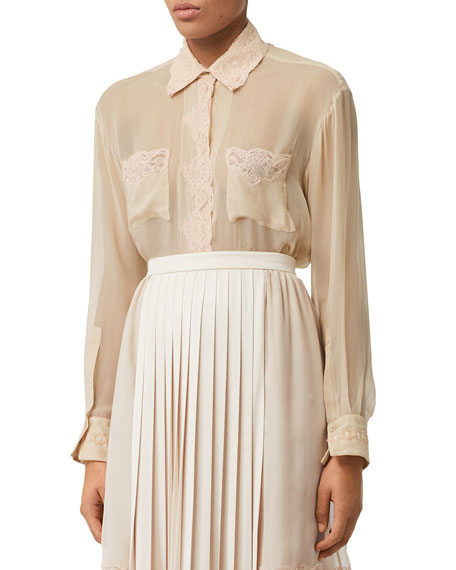 Lace-Trim Silk Chiffon Button-Front Shirt