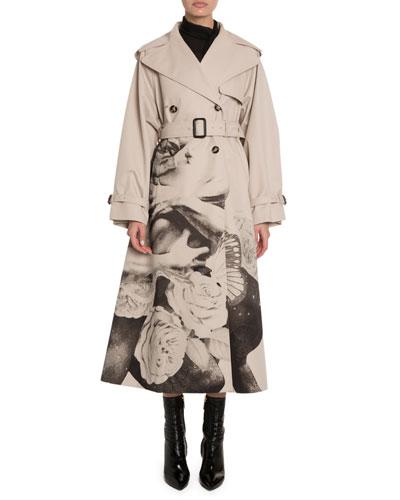 Lovers Graphic Gabardine Trench Coat