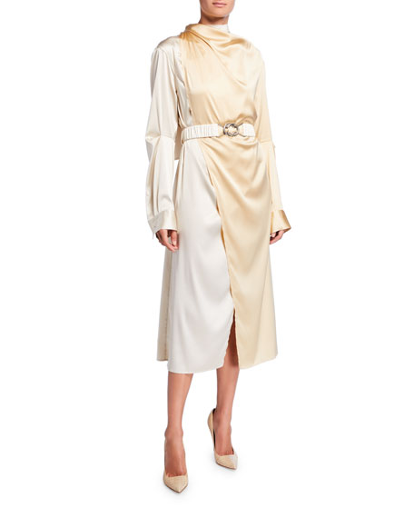 Image 1 of 1: Bicolor Wrapped Silk Dress