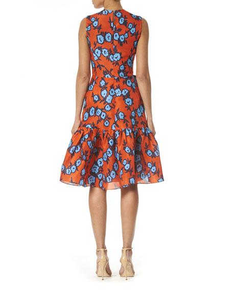 Floral Print Bowed-Waist Silk Dress