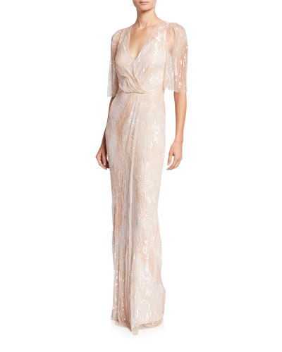 Sequined Tulle Crossover Column Gown
