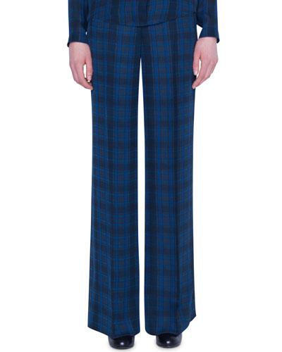 Flore Plaid Silk High-Rise Flare Pants