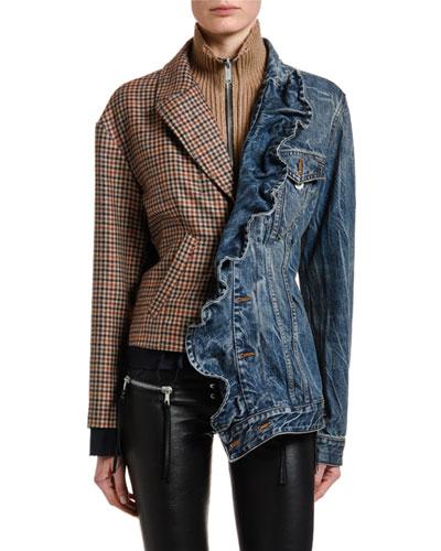 Mixed-Media Ruffle-Front Jacket