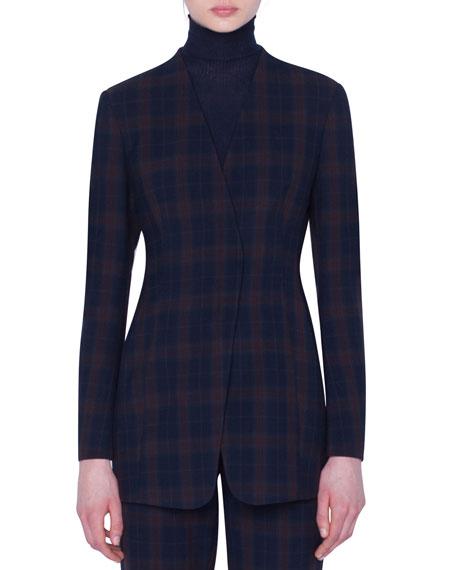 Plaid Zip-Front Jacket