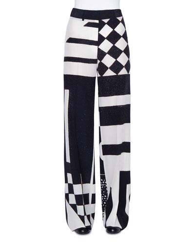 Flore Kaleidoscopic Silk Full-Leg Pants