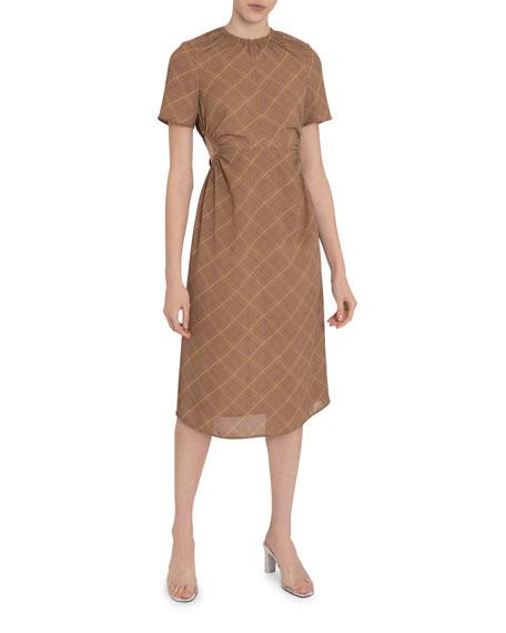 Check Gathered Open-Waist Midi Dress