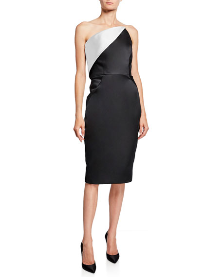 Image 1 of 1: Strapless Colorblock Fold-Over Cocktail Dress