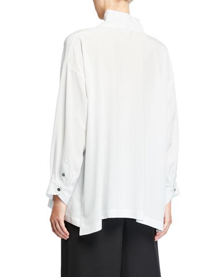 Silk Scrunched-Neck Slim A-Line T-Shirt