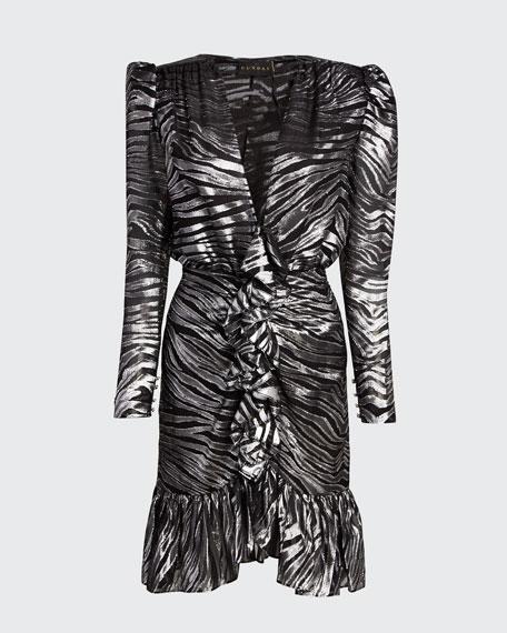 V-Neck Zebra Lame Dress