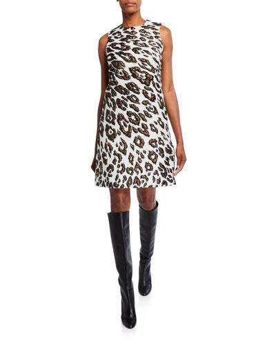 Leopard Brocade Day Dress