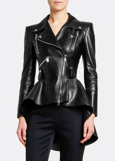 Leather Fit & Flare Biker Jacket