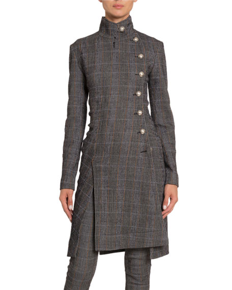 Plaid Wool High-Neck Military Coat