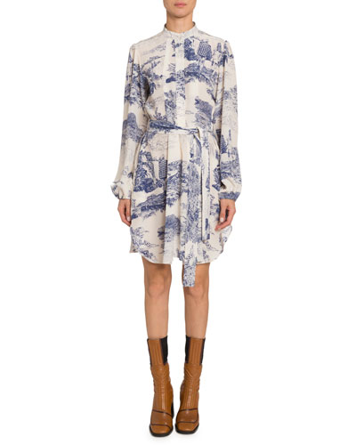 Long-Sleeve Toile-Print Chiffon Dress