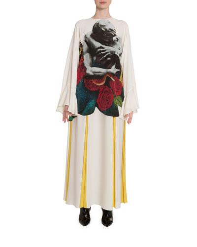 Lovers-Print Georgette Bell-Sleeve Dress