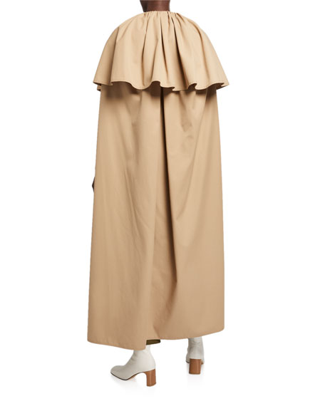 Cotton Twill Tiered Capelet Trench Coat